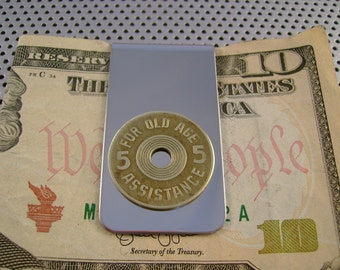 """Vintage Authentic Oklahoma """"Old Age Assistance"""" Tax Token Money Clip Man Gift, Wedding, Groomsman Gift, Fathers Day Gift"""