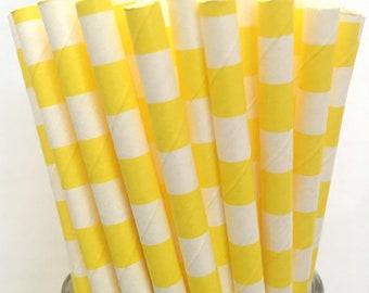 2.85 US Shipping -Yellow Stripe Paper Straws  -  Yellow Stripe Straws- Cake Pop Sticks