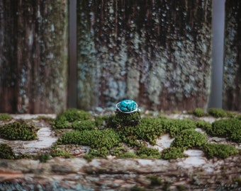 Turquoise Silver Wire Wrapped Ring