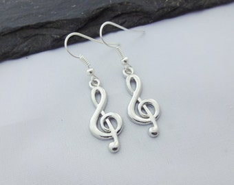 Treble Clef Earrings, Music Earrings, Music Gift, Music Jewellery, Jewelry, Singer, Musician, Musical,Music Note Earrings,Gifts,Gift For Her