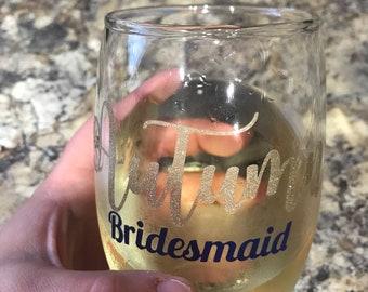 Bridesmaid wine glass
