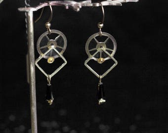 """Earrings """"Copernicus Petites"""" with COG and gear"""