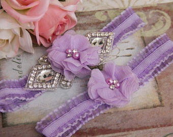 Lavender Wedding Garter set, Bridal Garter set, Organza Garter, Organza Wedding Garter, Rhinestone Garter Set, Purple garter
