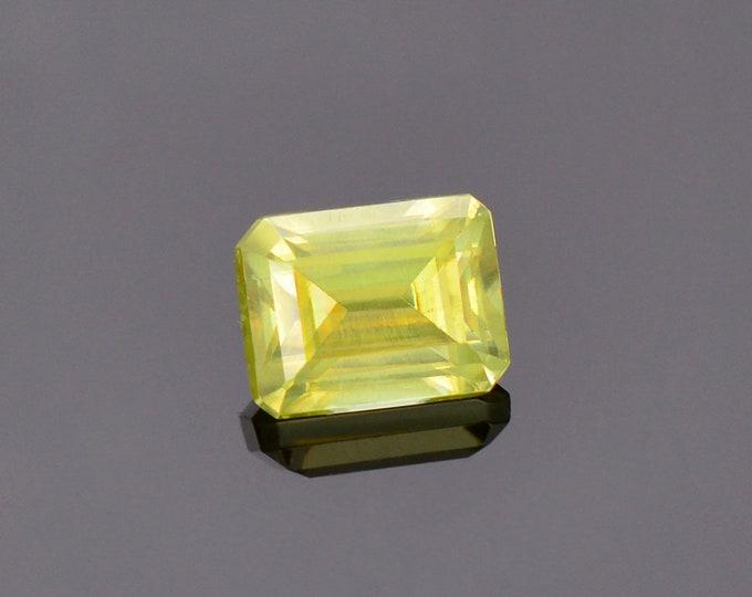 Gorgeous Yellow Green Sphene Titanite Gemstone from Zimbabwe, 1.39 cts., 6.7 x 5.3 mm., Emerald Shape.