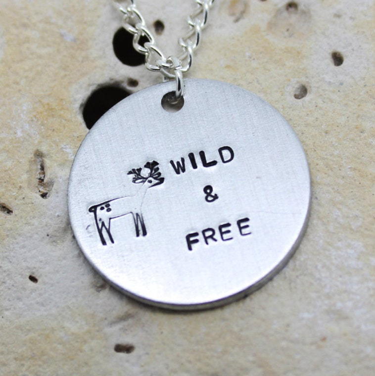 Wild free deer necklace - cute deer jewellery - vegan necklace - hippie - boho - gypsy - animal necklace