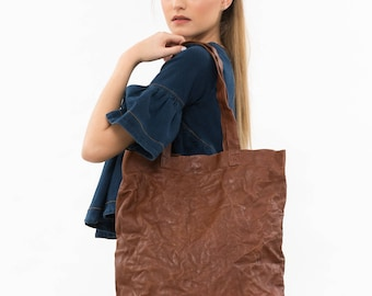 Large brown tote bag, Brown leather tote, Teacher tote bag, Brown leather work tote, Everyday tote, Brown leather bag