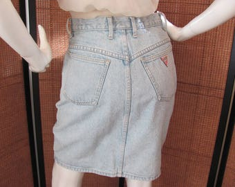 JEAN MINI SKIRT, High Wasted Guess Denim Jean Mini Skirt, Fabulous 1980's High Wasted Denim Mini made by Guess Jeans 100% Cotton made U.S.A