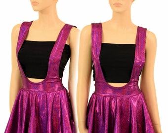 Fuchsia Sparkly Jewel Holographic Suspender Mini Skirt Full Circle Stretchy Sparkly Shimmering - 155201