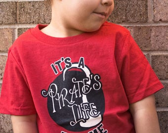 Its A Pirates Life For Me... Red Kids Tshirt. Pirate themed tee in red white and black. Jake and the Neverland Pirates / Peter Pan / Disney