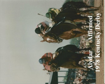 """Alydar & Affirmed dueling in the 1978 Kentucky Derby - Head On - Close Up - 8"""" x 10"""""""