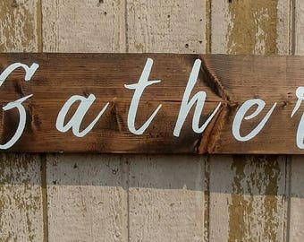 Rustic Home Decor Farmhouse Dining Room Sign Rustic dining decor Gather Sign Custom Wood Wall Decor Wood Gather Letters Rustic Wedding Gift