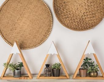 Mountain Shelf, SET OF 3 - Woodland Nursery, Boys Room, Snow Peak Mountain, Forest, Reclaimed Wood, Triangle, Geometric