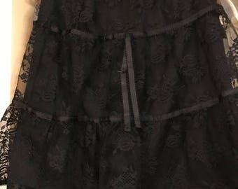 Vintage Victorian Goth Black Lacy Skirt .