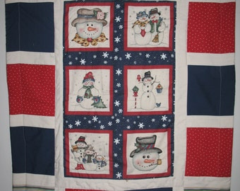"Snow man red blue white baby quilt 32"" x 42"""