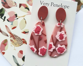 Polymer Clay Earrings 'Cherry Blossom'/Large asymmetrical dangle