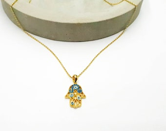 hamsa necklace, hamsa evil eye necklace, gold necklace, embellished hamsa, fatima pendant necklace, hamsa pendant, evil eye necklace