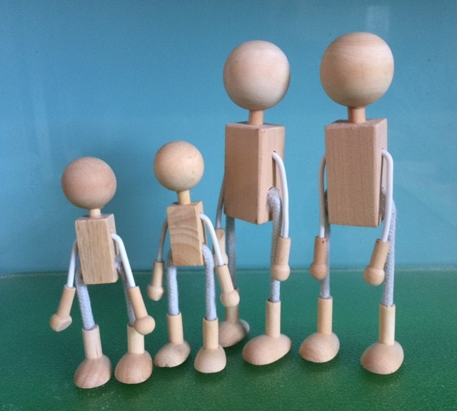 WOOD and Wire DOLL FAMILY - Bendy Doll Family - Wood Doll Bases ...