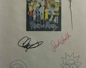 Rick and Morty Signed TV Script Screenplay X4 Autograph & Justin Roiland Dan Harmon Chris Parnell Sarah Chalke signature Lawnmower Dog