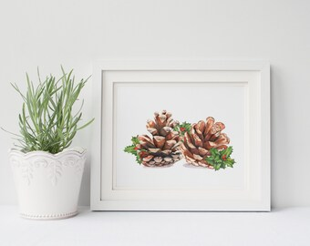 Pinecones print of watercolor painting, PCH209DL, holly print, downloadable Christmas wall art, Christmas print, instant download