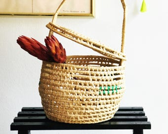 Vintage Bohemian Wicker Rattan Grass Basket with Attached Lid and Handle