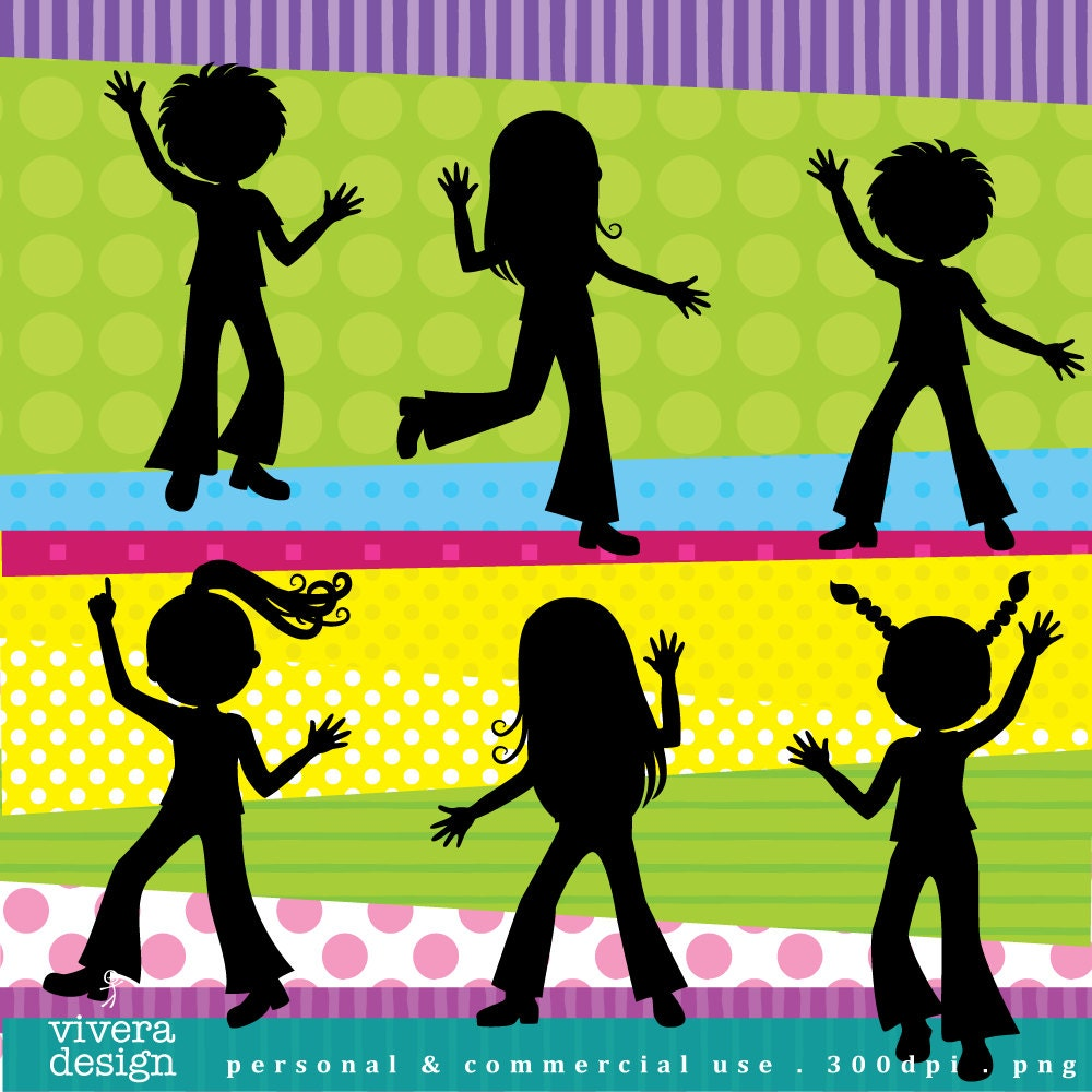 Digital Clip Art Disco Party for Kids Disco Children