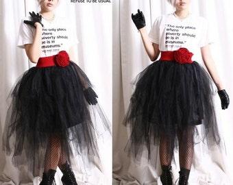 Punk Goth Puffy Swan Ballerina Irregular Broom Fairy TuTu Mesh Tulle Calf Skirt
