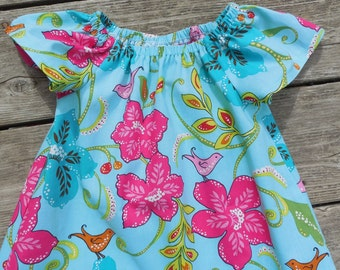 Girl's Toddlers Aqua and Pink Floral Peasant Dress