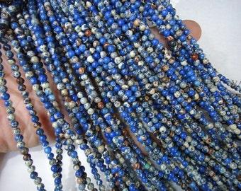 4mm blue impression jasper round beads, 15.5 inch
