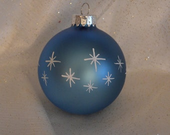 Light Blue Hand painted Christmas Ball