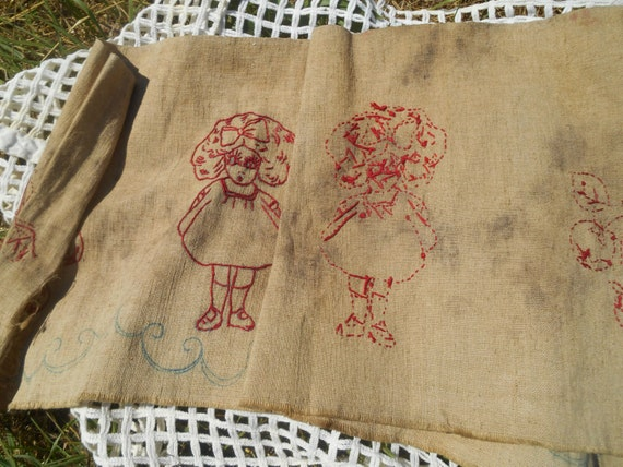 Antique Redwork Curtain Embroidery Linen Curtain Fabric Girl and Cherry Hand Embroidered 1880's Bath Pattern #sophieladydeparis