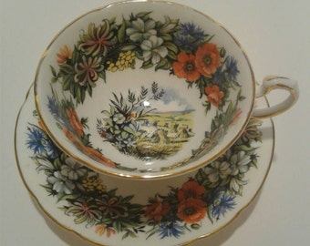 Vintage Paragon Seasonal Greetings Tea Cup & Saucer