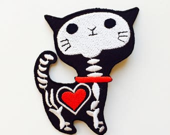 Skeleton | Cat | Bones | Patch | Cute | Hipster | Trendy | Emo | DIY | Fashion | Retro