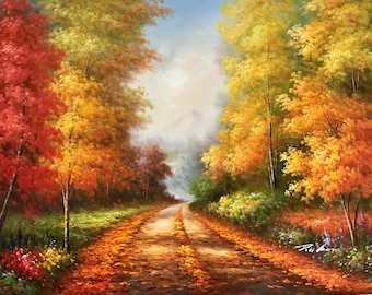 """36"""" x 48"""" Path Through The Woods. Fall. Autumn. Painting of leaves. Painting of roads. mountain. hand painted. Oil on canvas."""