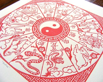 Chinese New Year Zodiac Red Wood Engraving
