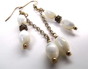 White dangle earrings, white mother of pearl, white earrings, white beaded jewelry