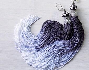 Tassel earrings, Black and white tassels, ombre, ombre earrings, black and white jewelry, long earrings, boho earrings, tassle earrings