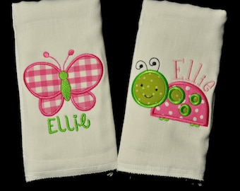 Gift Set of 2 Personalized Baby Girl Burp Cloths (or Bibs)  with ANY Name and Design