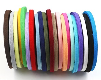 "10 Yards 10mm(3/8"") Cotton Herringbone Sewing Tape, Apron Twill Tape, Bias Binding Tape, Sewing Supplies 24 Colors Choices"