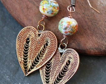 Heart Filigree Earrings with Vintage Glass Beads and Vintage Brass