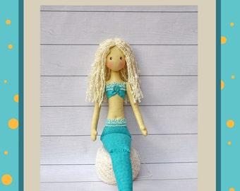 PDF, Cloth Doll Pattern,textile doll mermaid,  handmade mermaid