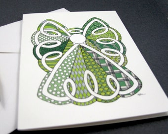 Lace Angel Stationery Set - Set of 8 Blank Inside Card Set - Green and White Celtic Angel Christmas notecards