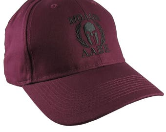 Molon Labe Spartan Warrior Mask in Laurels Black Embroidery on an Adjustable Burgundy Red Structured Baseball Cap