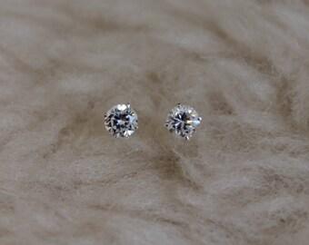 4mm Cubic Zirconia Argentium Silver Earrings - 4 prong - Nickel Free Hypoallergenic Stud Earrings