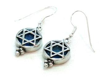 Roman Glass Dangle Earring, Israel Jewelry, Sterling Silver Earrings, Star of David Earring, Magen David, Judaica,Blue, Round, Modern Design