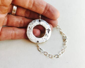 Medical Alert Bracelet, Medical ID Bracelet, Circle Charm Bracelet, Personalized Bracelet, Silver Circle Bracelet with Birthstone