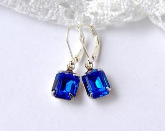 Sapphire Rhinestone Leverback Earrings / Gift for her / September birthstone / blue rhinestone / Swarovski / Gatsby / Vintage style