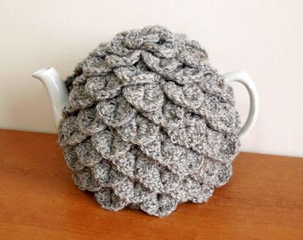 Teapot cover, handmade grey tea cosy to fit 4-6 cup teapot, lovely thick teacosy, crochet in crocodile stitch to keep the tea hot.