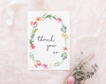 THANK YOU Card | Floral Thank You card | Wedding Thank You card | Thank You note card | Watercolour | Pink, Orange, Green | Botanical Card|