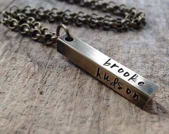 Men's Square Bar Necklace, Personalized Jewelry, Hand Stamped Bar Necklace, Name Necklace, Bohemian Necklace, Bohemian Jewelry, Father's Day