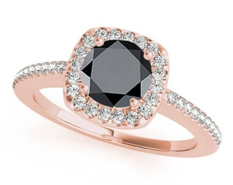 1.20 Ct. Halo Black Diamond Engagement Wedding Ring In 14k Gold